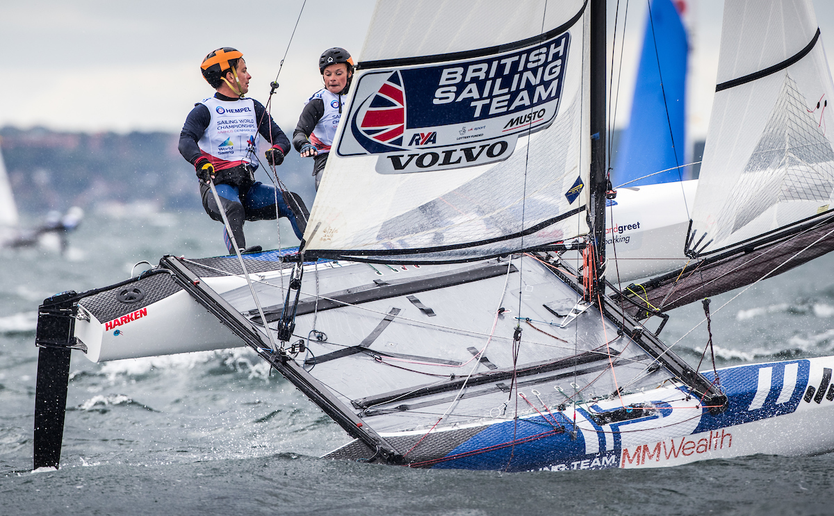 Aarhus Sailing World Championships, Denmark 2018.  Britain's Sailing World Championships team member.  Ben Saxton and Nikki Boniface, Nacra 17  British Sailing Team image. For further information please contact team.media@rya.org.uk. © Copyright British Sailing Team. Image copyright free for editorial use. This image may not be used for any other purpose without the express prior written permission of the RYA. For full copyright and contact information please see http://media.britishsailingteam.com