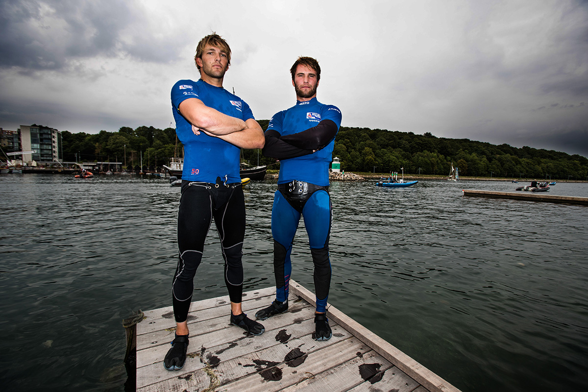 Aarhus Sailing World Championships, Denmark 2018.  Britain's Sailing World Championships team member.  Jack Hawkins and Chris Thomas, 49er  British Sailing Team image. For further information please contact team.media@rya.org.uk. © Copyright British Sailing Team. Image copyright free for editorial use. This image may not be used for any other purpose without the express prior written permission of the RYA. For full copyright and contact information please see http://media.britishsailingteam.com