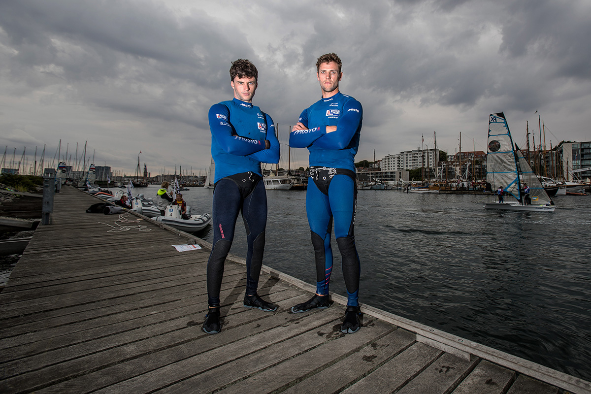 Aarhus Sailing World Championships, Denmark 2018.  Britain's Sailing World Championships team member.  James Peters and Fynn Sterritt, 49er  British Sailing Team image. For further information please contact team.media@rya.org.uk. © Copyright British Sailing Team. Image copyright free for editorial use. This image may not be used for any other purpose without the express prior written permission of the RYA. For full copyright and contact information please see http://media.britishsailingteam.com