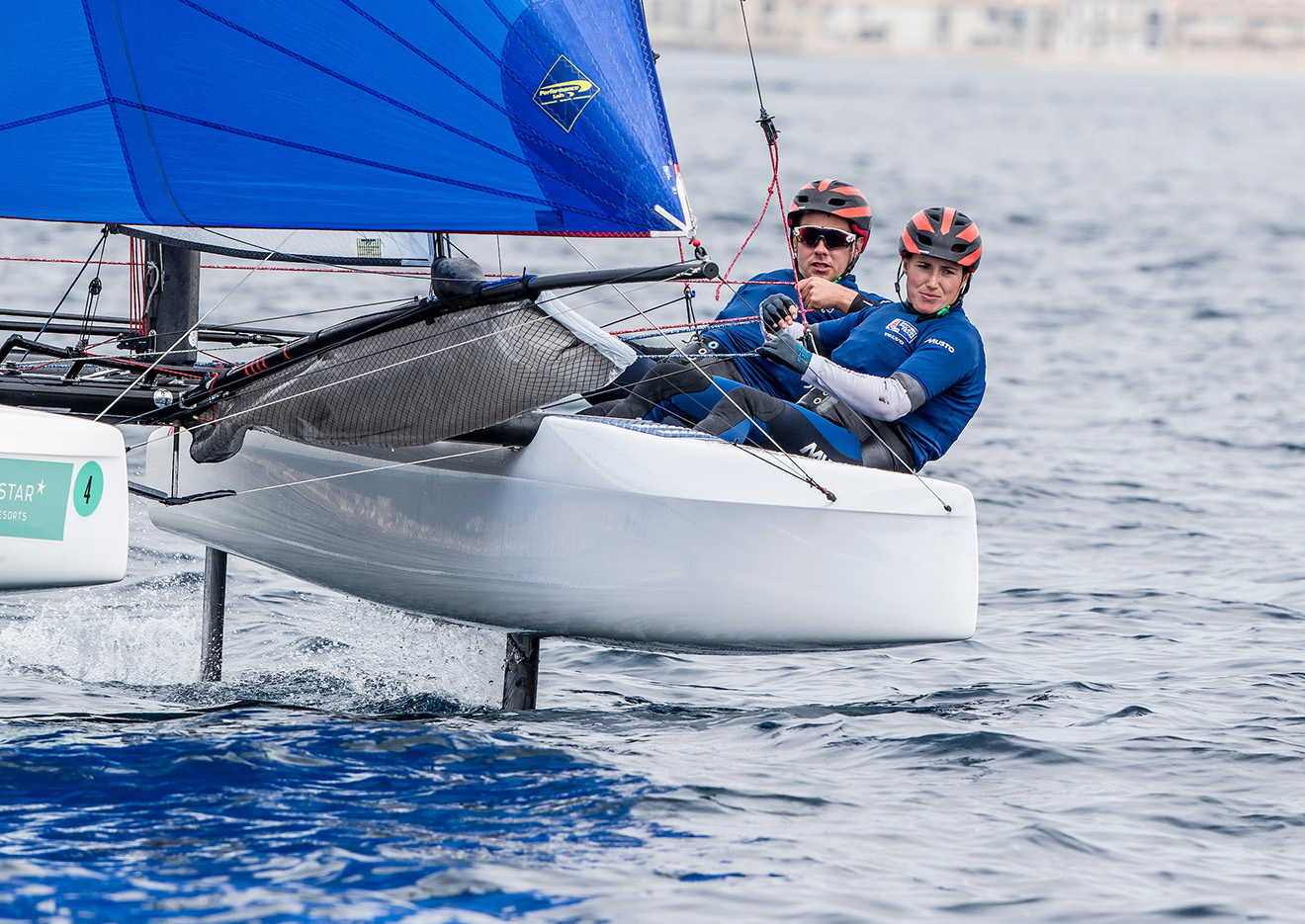 John Gimson and Anna Burnet jump to 2nd in the Nacra 17.