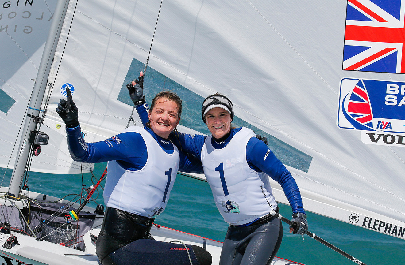 Hannah Mills and Eilidh McIntyre celebrate winning gold in Palma.