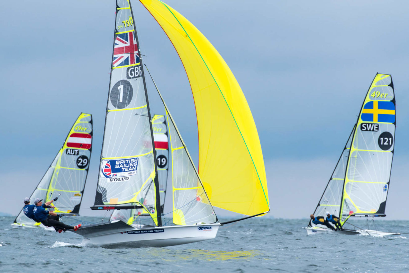The 49er fleet battle for the European Championship title