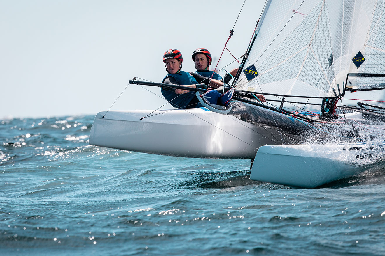 John Gimson and Anna Burnet lead the British charge in the Nacra 17.