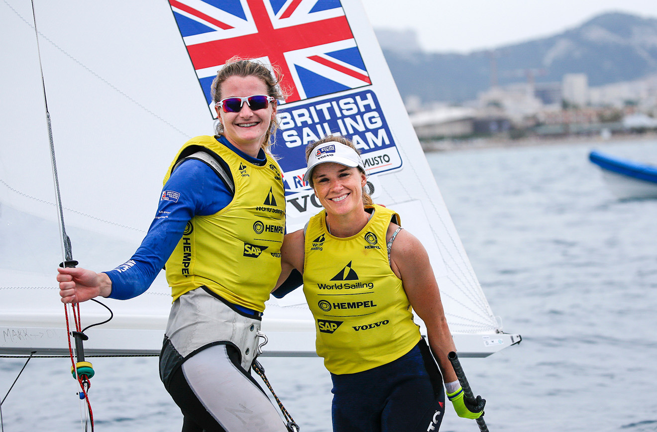 Hannah Mills and Eilidh McIntyre take silver at the World Cup Series final in Marseille.