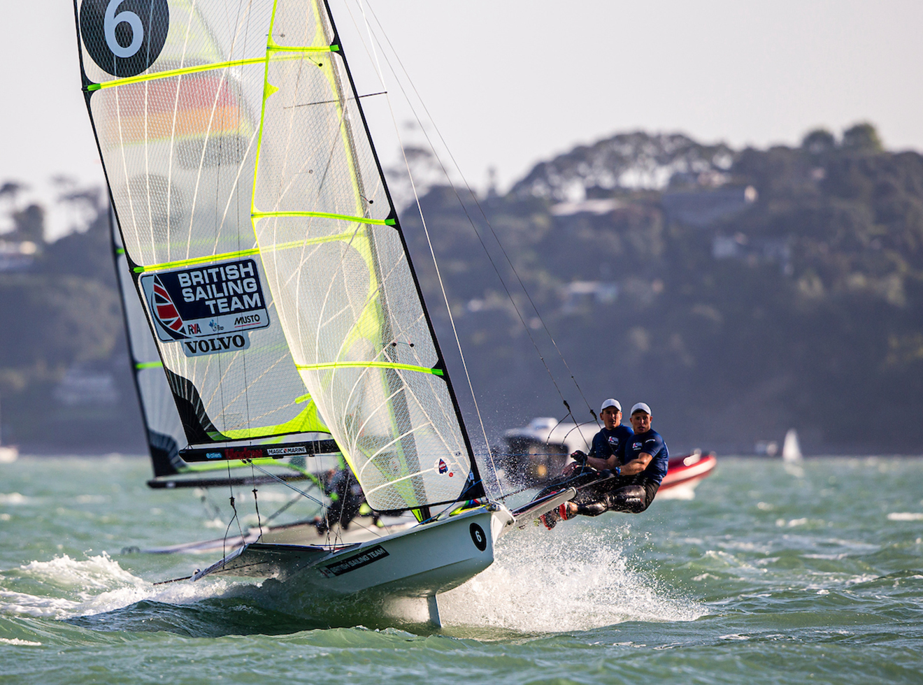 Dylan Fletcher and Stuart Bithell on day 1 of the 49er, 49erFX and Nacra 17 World Championships.