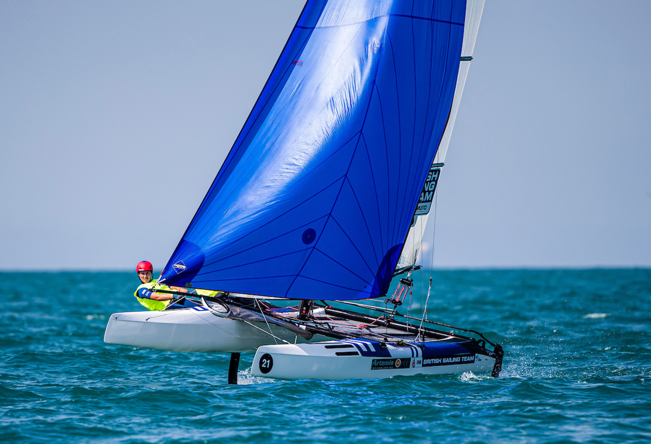 John Gimson and Anna Burnet lead the 49er, 49erFX, Nacra 17 World Championships.