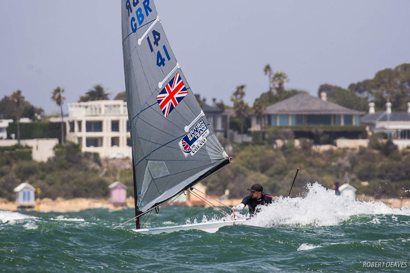 Giles Scott in action in the Finn Gold Cup medal race.