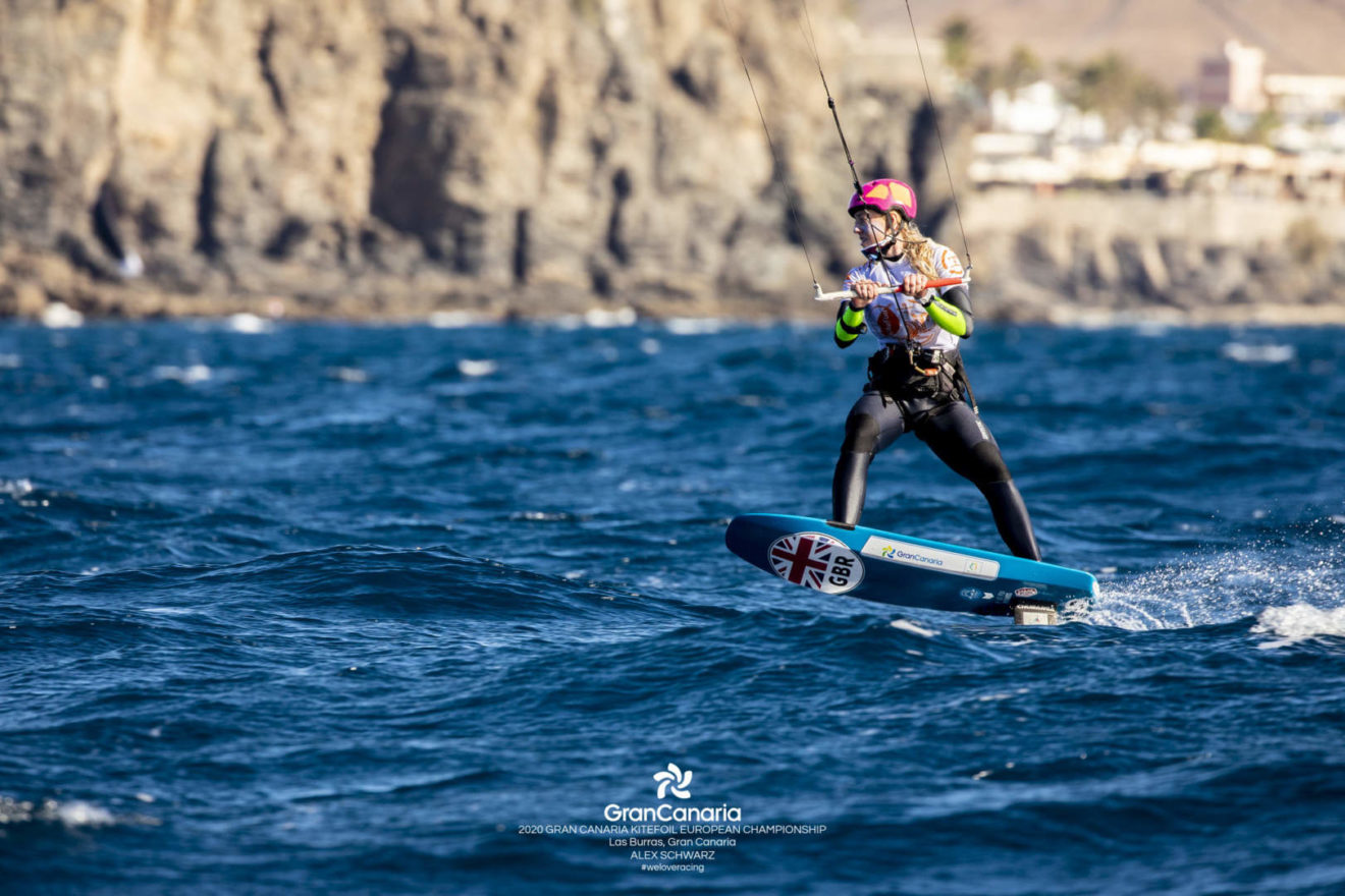 Ellie Aldridge in action at the KiteFoil European Championships.